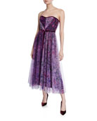 Marchesa Notte Floral Colorblock Strapless Sweetheart Tea-Length