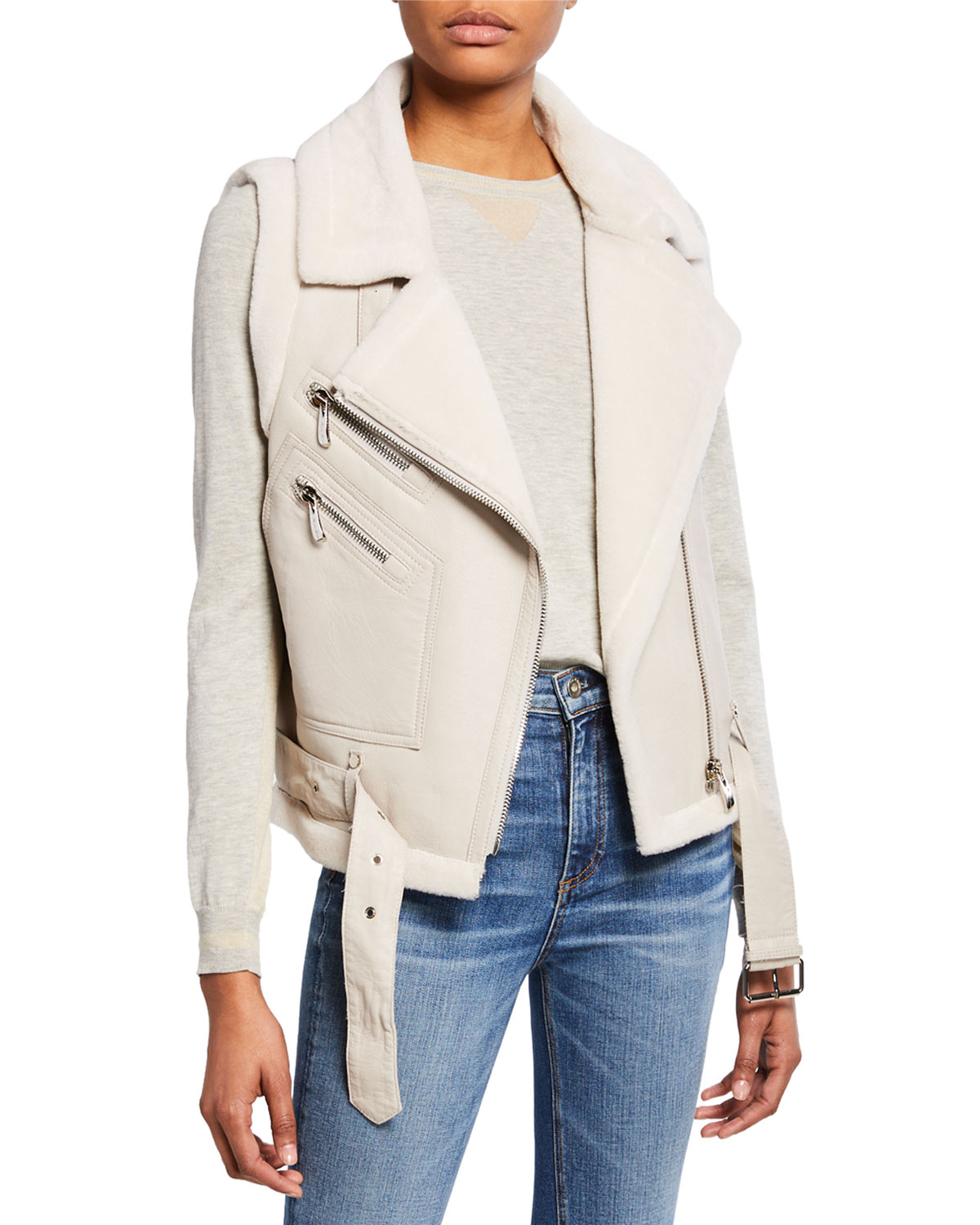 Belle Fare Tops Leather Moto Vest w/ Fur Lining