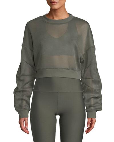 Row Mesh Sheer Cropped Pullover Sweatshirt