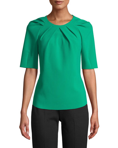 Meghan Tucked Short-Sleeve Blouse