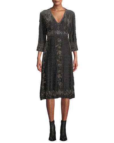 5b85686e32e V Neckline Velvet Dress