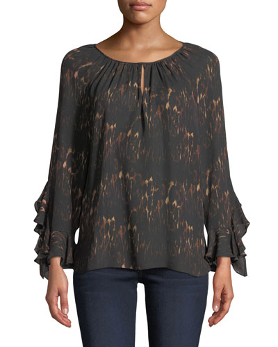 Quick Look. Kobi Halperin · Lee Ruffle-Sleeve Blouse in Leopard-Print Silk efa3434ac