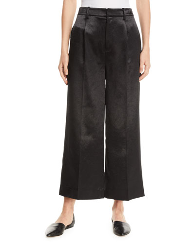 Metallic Cropped Wide-Leg Pants