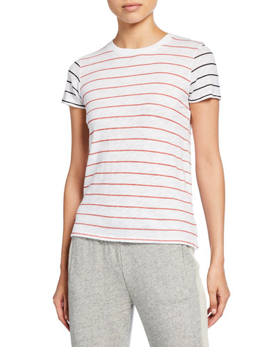 Striped Slub Jersey Short-Sleeve Cotton Tee