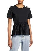 3.1 Phillip Lim Crewneck Short-Sleeve T-Shirt w/ Pearlescent