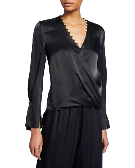 3.1 Phillip Lim Satin High-Low Drape Blouse