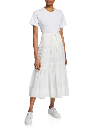 Short-Sleeve T-Shirt Dress w/ Belted Lace-Inset Skirt
