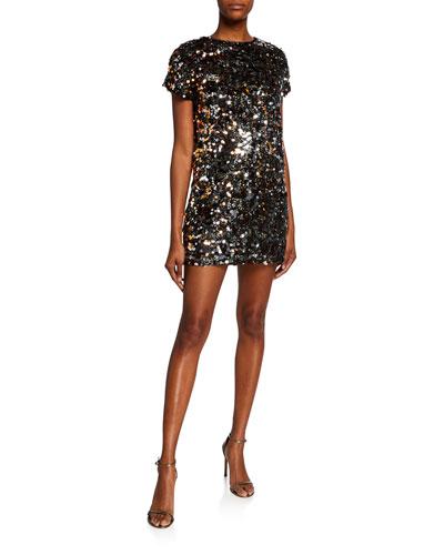 Sequin Paillettes Cap-Sleeve Mini Dress