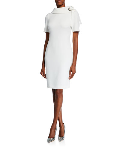 ec61a70d Quick Look. Badgley Mischka Collection · Tie-Neck Short-Sleeve Sheath Dress