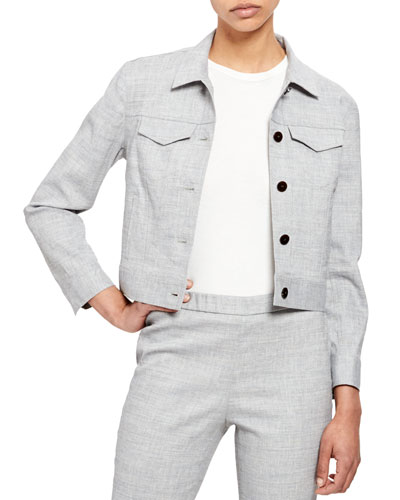 Cropped Button-Front Eco Sharks Linen Denim Jacket