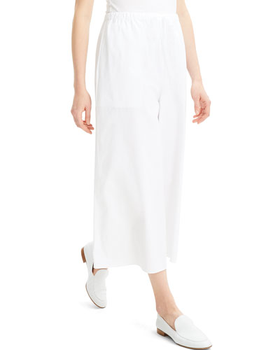 Fluid Wide-Leg Stretch-Cotton Pull-On Pants