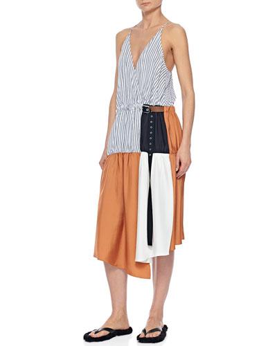Colorblock Wrap Slip Dress