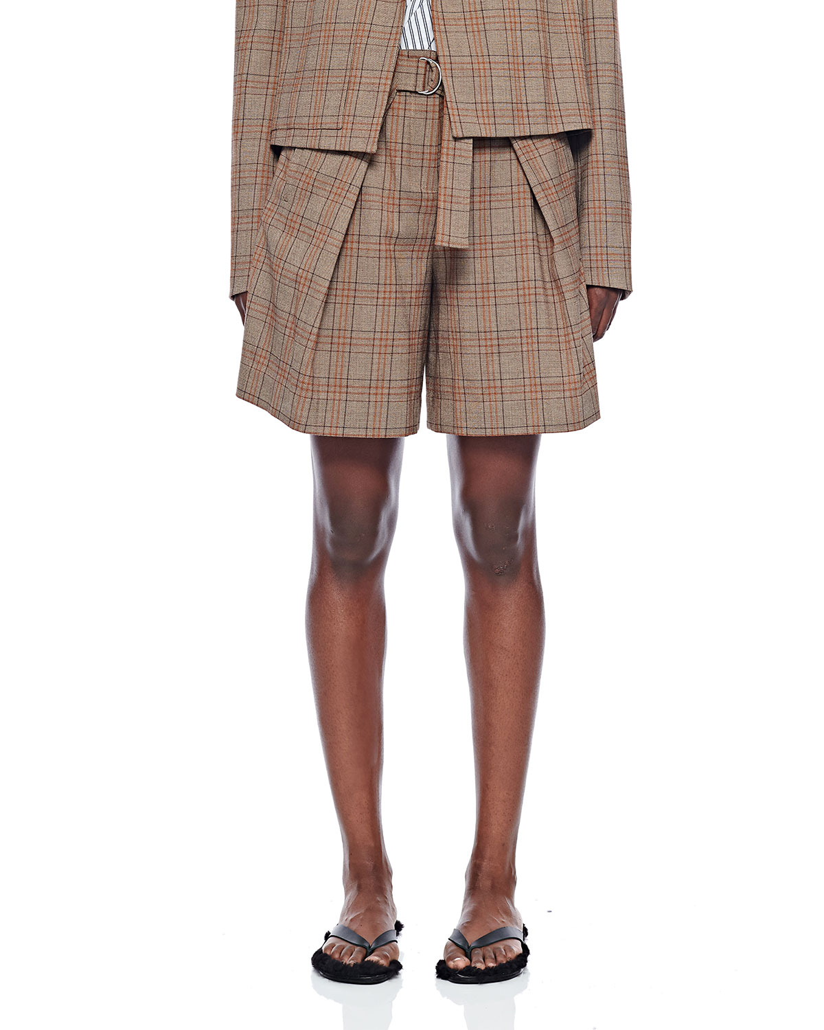 Tibi Shorts CHECK PLEATED RELAXED SHORTS