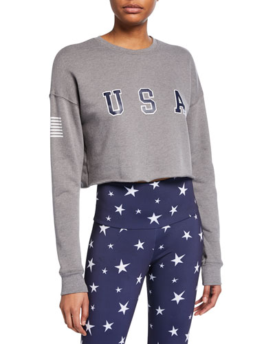 4TH Of July Cropped Long-Sleeve Top