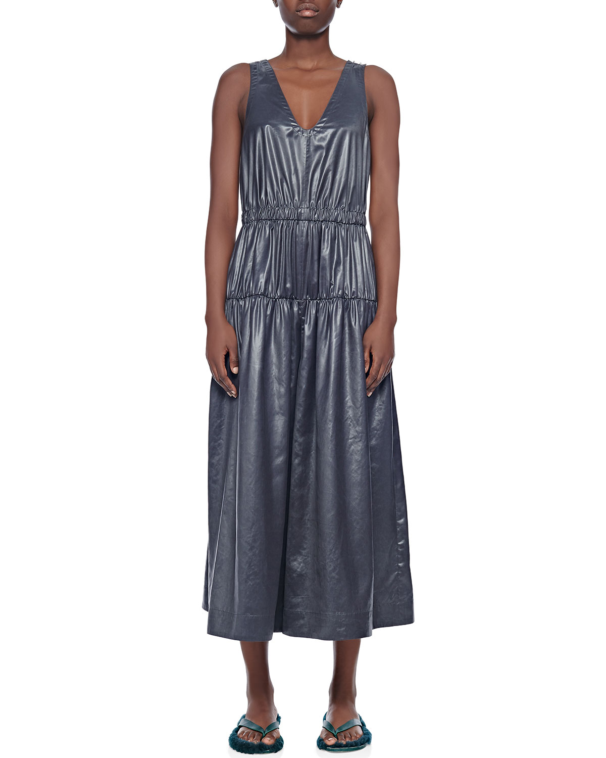 Tibi Suits SLEEVELESS SHIRRED CULOTTE JUMPSUIT