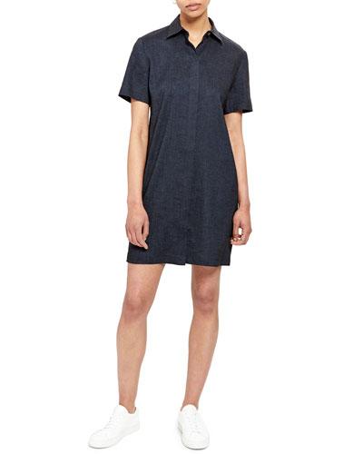 Short-Sleeve Button-Down Shirtdress