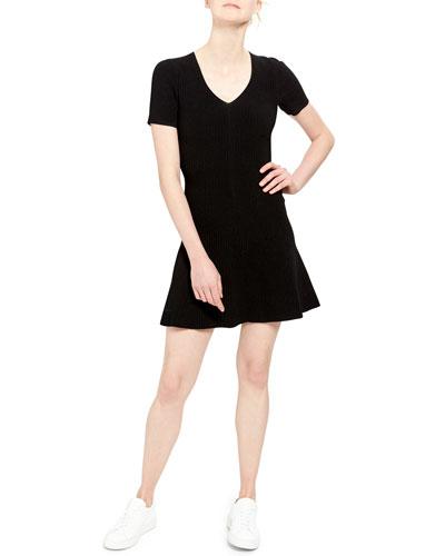 Short-Sleeve Mini Fit-&-Flare Dress