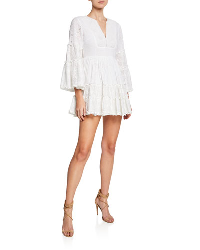 Norwa V-Neck Tiered Eyelet & Lace Mini Dress