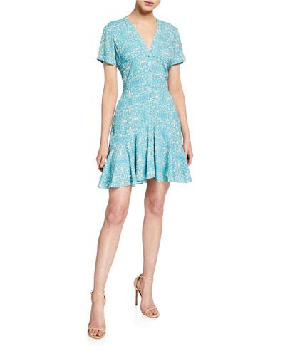 Delia Printed Button-Down Short Dress