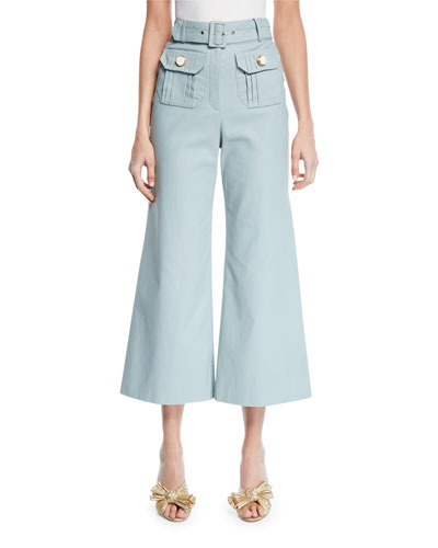 Everette Belted Wide-Leg Crop Pants
