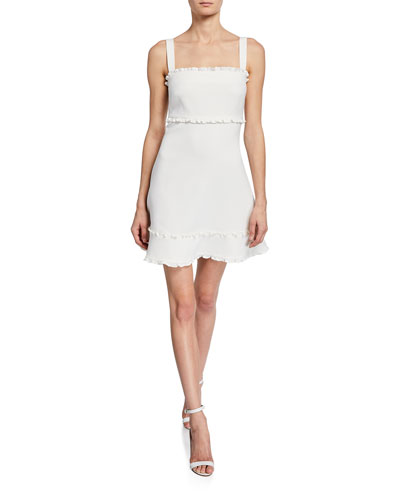 Katrina Square-Neck Sleeveless Mini Dress w/ Ruffle Trim