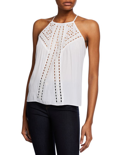 Carolyn High-Neck Embroidered Top