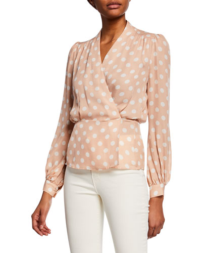 Cara Dot-Print Wrap Blouse