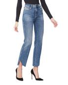 Good American Good Curve Straight Cascade-Hem Jeans -