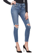 Good American Good Legs Crop Knee-Rip Jeans -