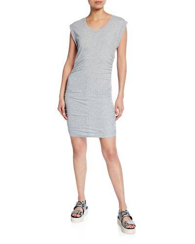 Scoop-Neck Ruched-Side Min Dress