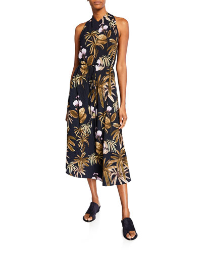Mixed Tropical Garden Halter Dress