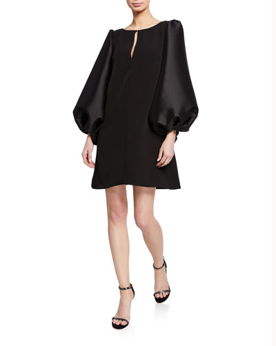 Boat-Neck Puff-Sleeve A-Line Mini Cocktail Dress