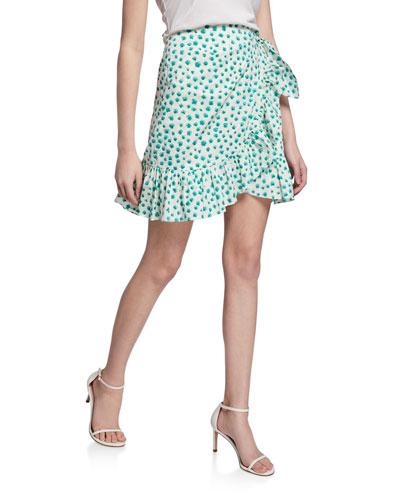 Daisy-Print Short Flounce Skirt