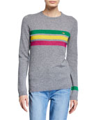 Bella Freud Daytona Sparkle Stripe Crewneck Sweater