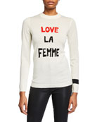 Bella Freud Love La Femme Crewneck Wool Sweater