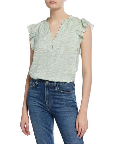 Sleeveless Silk Striped Top