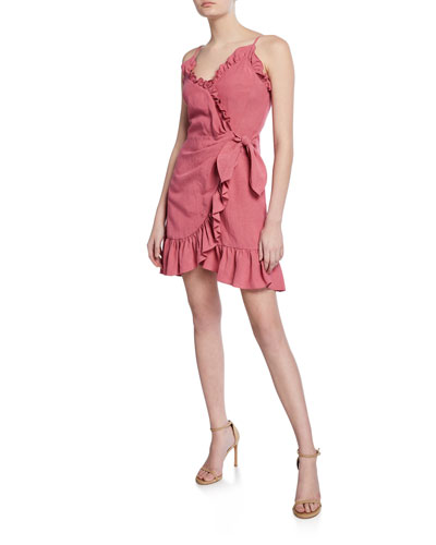 Sleeveless Linen Ruffle Wrap Dress
