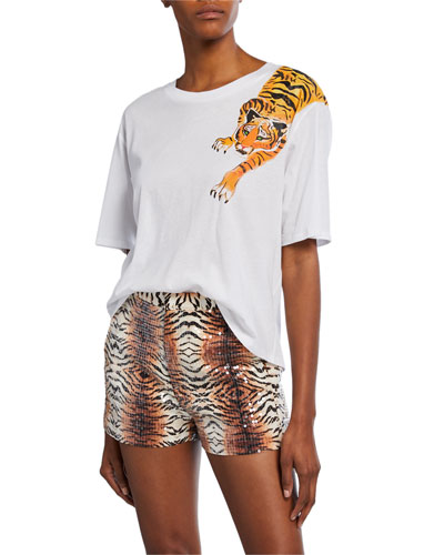 Scratching Tiger Graphic Short-Sleeve Cotton T-Shirt