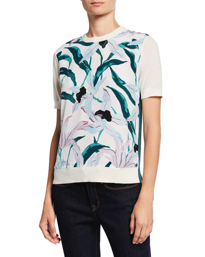 Floral Silk Print Front Short-Sleeve Merino Wool Sweater