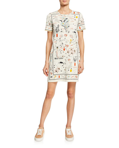 Printed Crewneck Short-Sleeve T-Shirt Dress