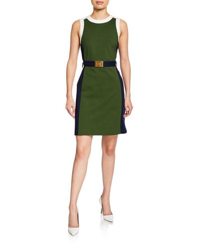 Colorblock Sleeveless Ponte Dress with Belt