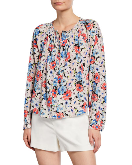Veronica Beard Madge Button-Front Floral Blouse