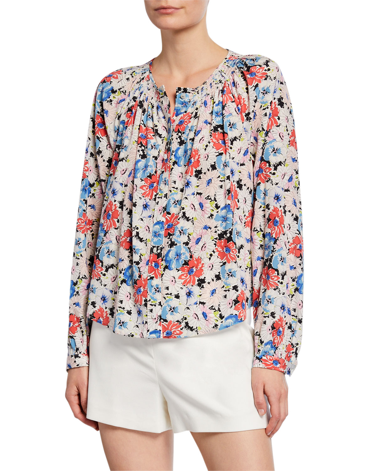Veronica Beard Tops MADGE BUTTON-FRONT FLORAL BLOUSE
