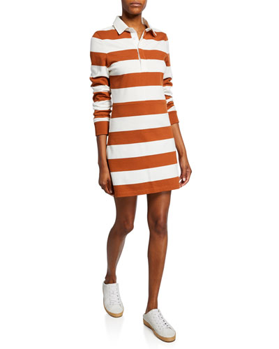Dusty Striped Long-Sleeve Rugby Dress