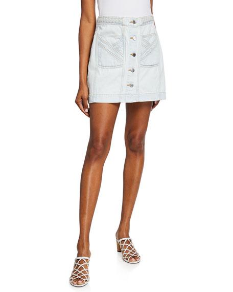 Veronica Beard Jeans Aron Exposed-Button Braided Mini Skirt
