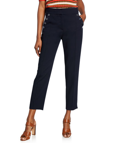 Freidman Cropped Skinny Pants with Buttons