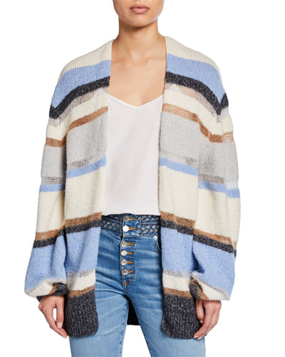 Elizabeth Striped Open-Front Cardigan