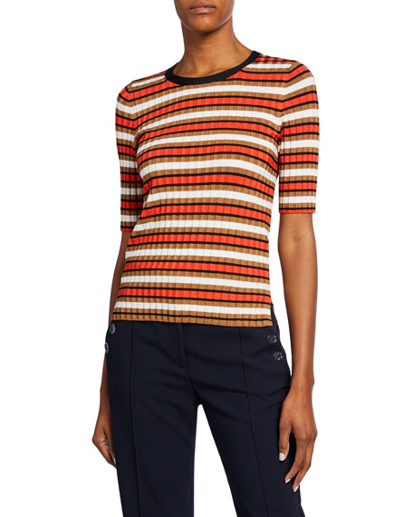 Veronica Beard Dillon Striped Crewneck Pullover