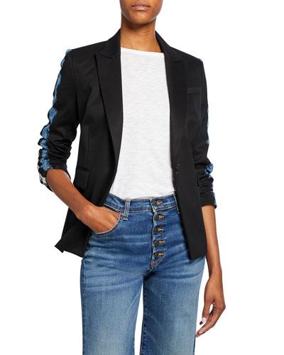 Damari Long-Sleeve Lace Stripe Jacket