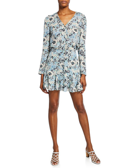 Veronica Beard Riggins Floral Button-Front Dress